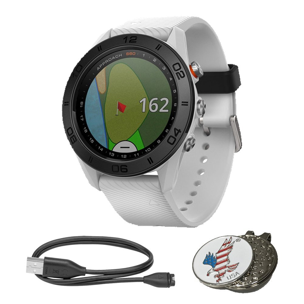 Garmin Approach S60 Golf GPS Sports Watch, Comes with a Custom Ball Marker Hat Clip Set (American Eagle), White with White Silicone Band