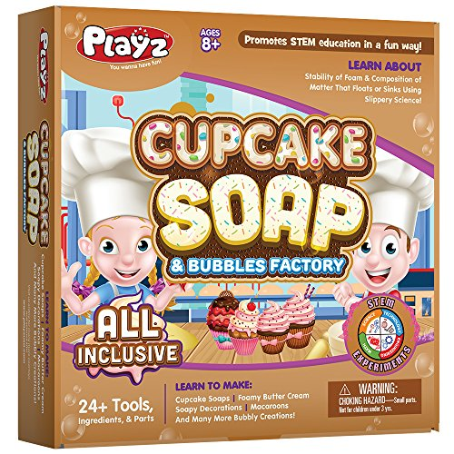 Playz Cupcake Soap & Bubbles Science Factory - 24+ Tools to Make Dessert Soaps You Can Use - Best Gift for Ages 8, 9, 10, 11, 12 Year Old Girls and Boys ()