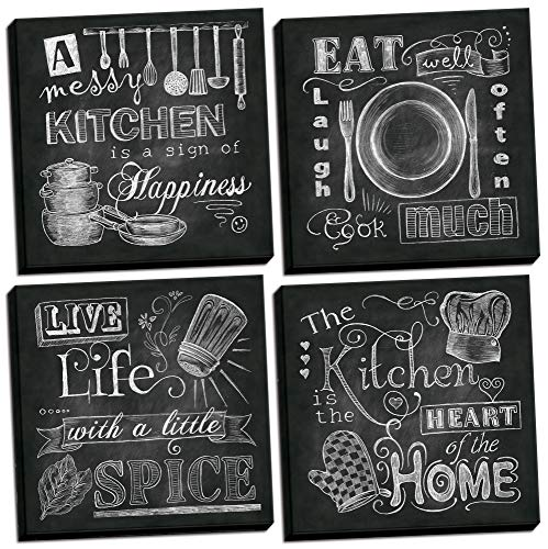 Beautiful Fun Chalkboard Kitchen Signs Messy Kitchen Heart of The Home Spice of Life and Cook Much Four 12x12in Stretched Canvases Ready to Hang