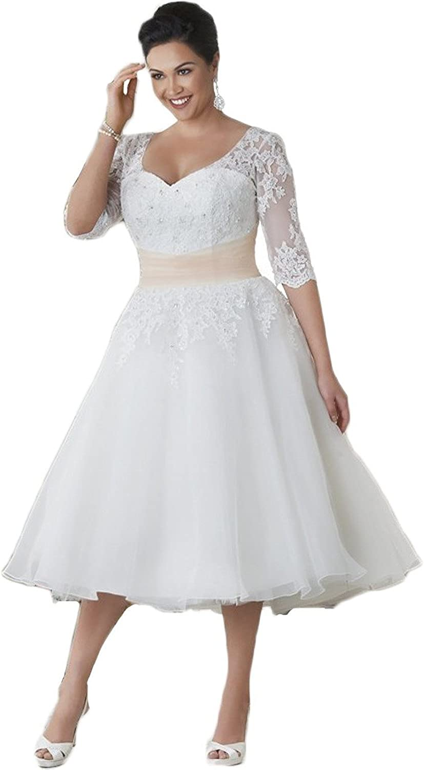 Lorderqueen Women\'s Half Sleeve Short Lace Wedding Dresses Plus Size for  Bride Gown