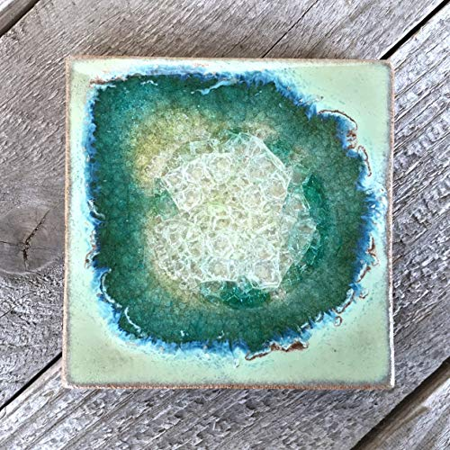 (Geode Crackle Coaster in Textured Turquoise, Individual Coaster, Geode Coaster, Agate Coaster, Fused Glass Coaster, Crackle Glass Coaster, Dock 6 Pottery Coaster, Dock 6 Pottery, Kerry Brooks Pottery)