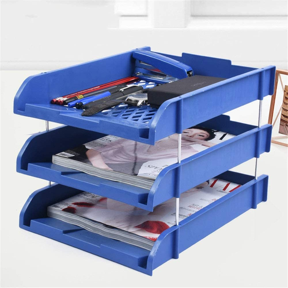 DEPRQ Document Storage Rack Desk Storage File Holder Plastic Data Frame File Box Desktop File Storage Rack File Tray Desk File Organiser Color : Blue, Size : 2633.826cm