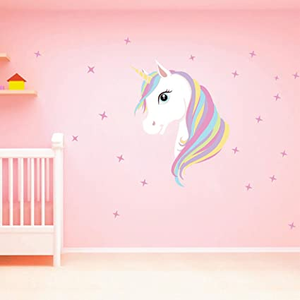 Chictry unicorn wall decals cute bling stars wall art stickers removal vinyl wall sticker decal diy