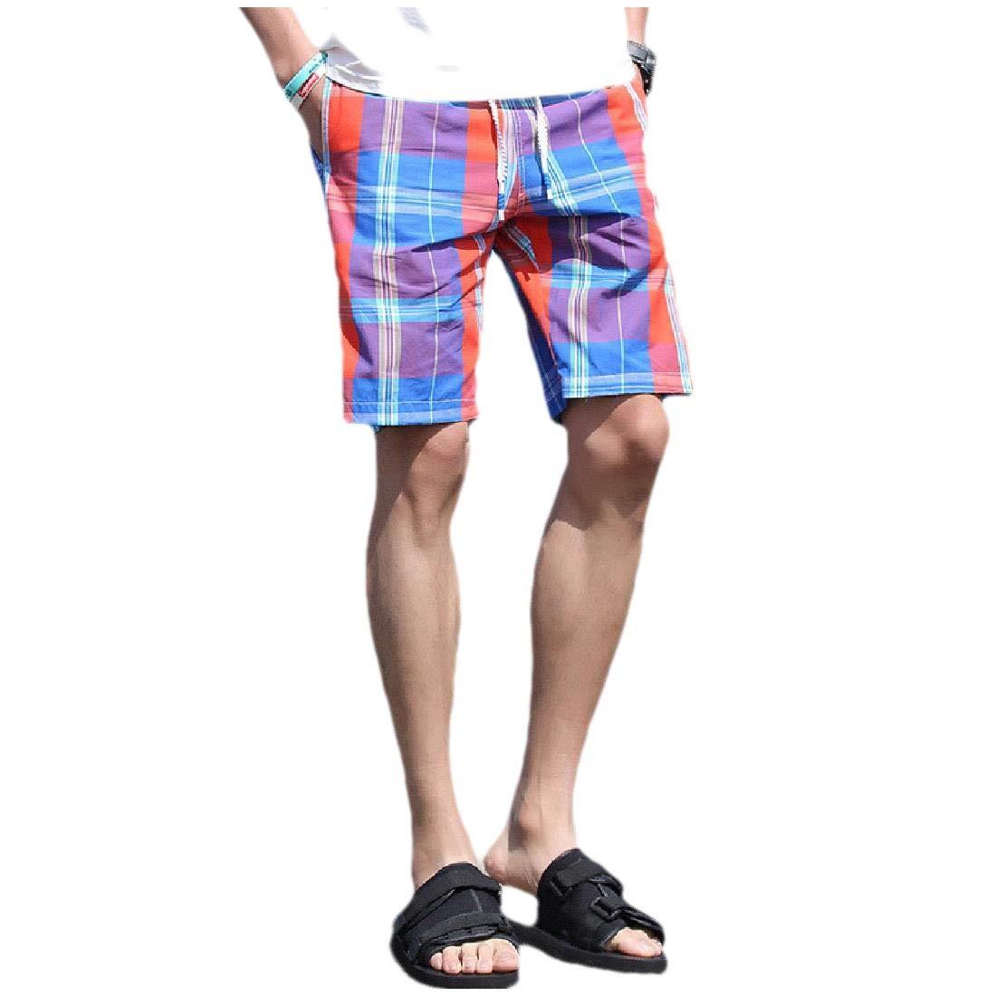 YKeen Men Quick Drying Half Leisure Plaid High Waist Beach Board Short