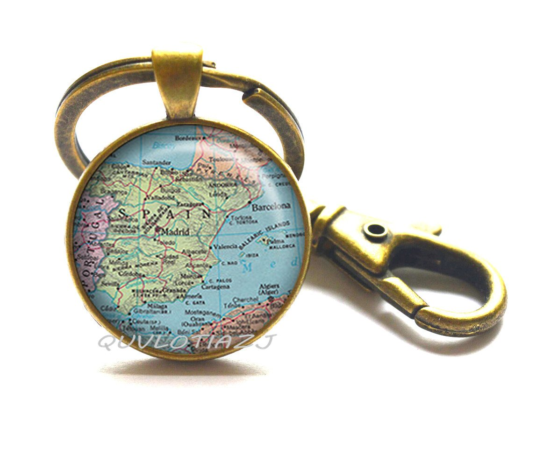 Amazon.com: España mapa llavero, España Mapa llavero mapa ...