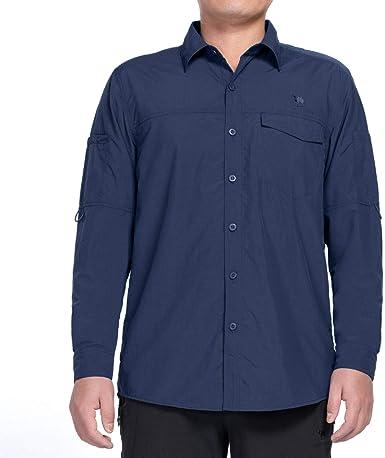 CAMEL CROWN Camisa Casual de Manga Larga Hombre Secado Rápido Protección UV Transpirable Al Aire Libre Camisa con Bolsillos Convertible Corta Camisa para Pesca Trabajo Viaje Senderismo Camping: Amazon.es: Ropa y accesorios