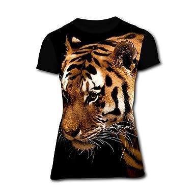 b31e8f3dbfba Richelle shop Dark Tiger Animal T-Shirts 3D Printed Creative Short Sleeve  for Women S