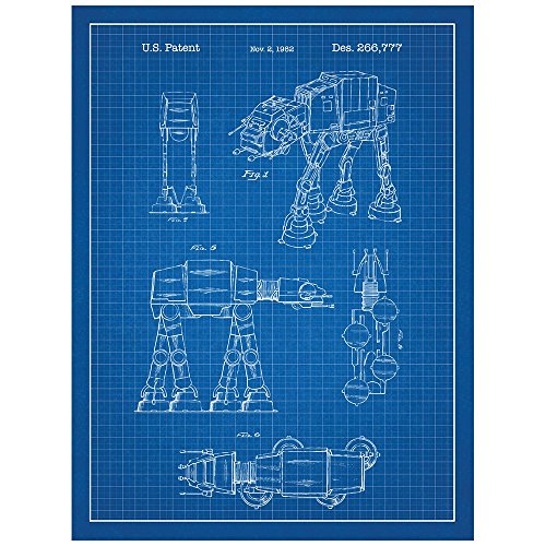 Inked and Screened Star Wars AT-AT Design Patent Art Poster Silk Screen Print, 18