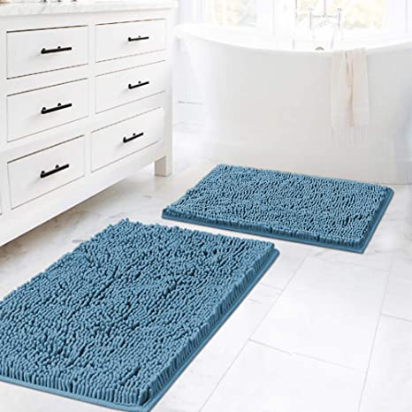 Amazon Com Dark Teal Bath Mats For Bathroom Non Slip Ultra Thick And Soft Chenille Plush Floor Mats Bath Rugs Set Microfiber Door Mats For Kitchen Living Room Pack 2 20 X 32 17 X 24