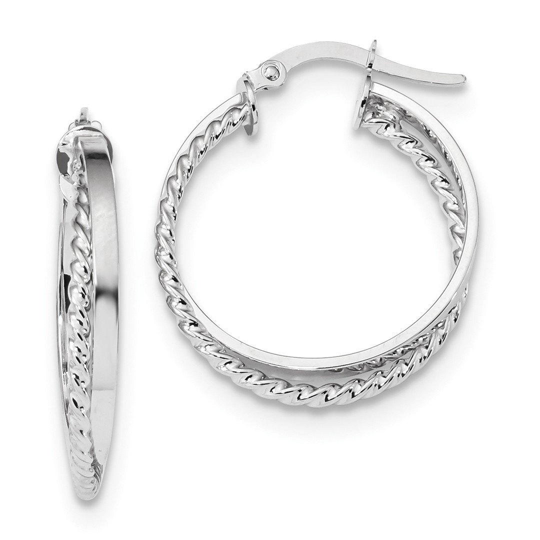 ICE CARATS 14k White Gold Textured Hinged Hoop Earrings Ear Hoops Set Fine Jewelry Ideal Mothers Day Gifts For Mom Women Gift Set From Heart