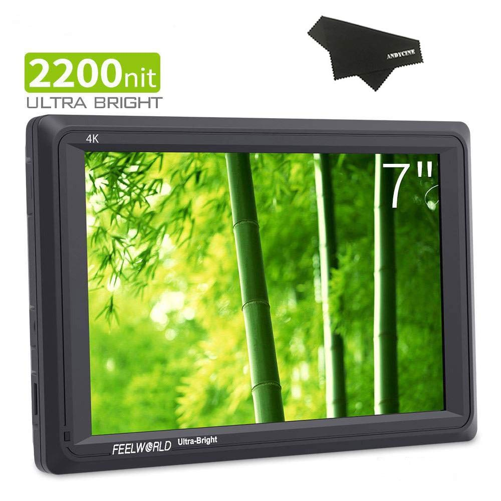 FEELWORLD FW279 7 Inch DSLR Camera Field Monitor 2200nit Ultra Brightness Daylight Viewable Full HD 1920x1200 4K HDMI Input Output Monitor with False Color Function
