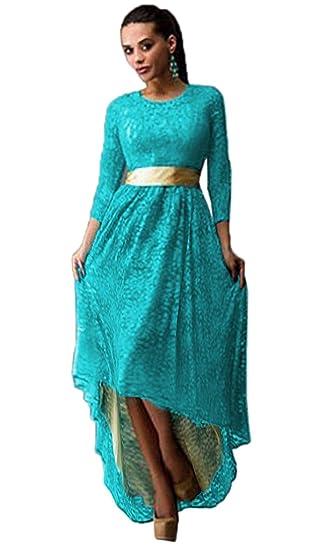 d286d5c3b1 Bigood Women Lace Irregular Lap Long Sleeve Maxi Skirt Evening Dress  Turquoise L at Amazon Women s Clothing store