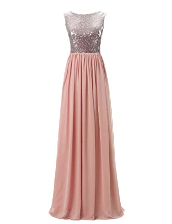 Belle House Womens Long Rose Gold Sequied Bridesmaid Gowns Chiffon Formal Evening Dresses