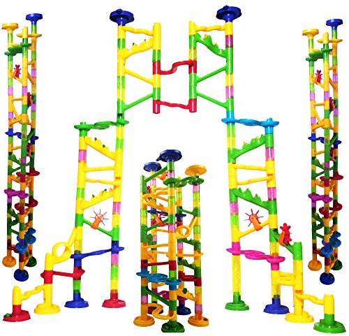 "ONE DAY SALE!!! BIG Marble Run Coaster Maze Toy 115 Pieces Building Set: 82 Blocks + 33 Safe Plastic Marbles. 250"" Long Marble Tracks. STEM Learning Games for Toddlers. Kids Building Kits. (For Plastic Games Marbles)"