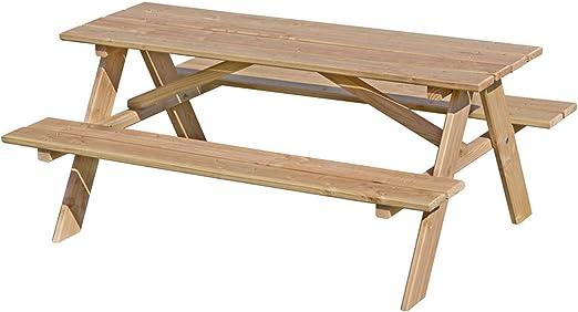 Table de pique-nique pour enfants en bois de mélèze naturel ...