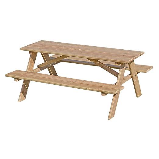 Gartenpirat Set de Mesa con Dos Bancos fijos para niños en Madera ...