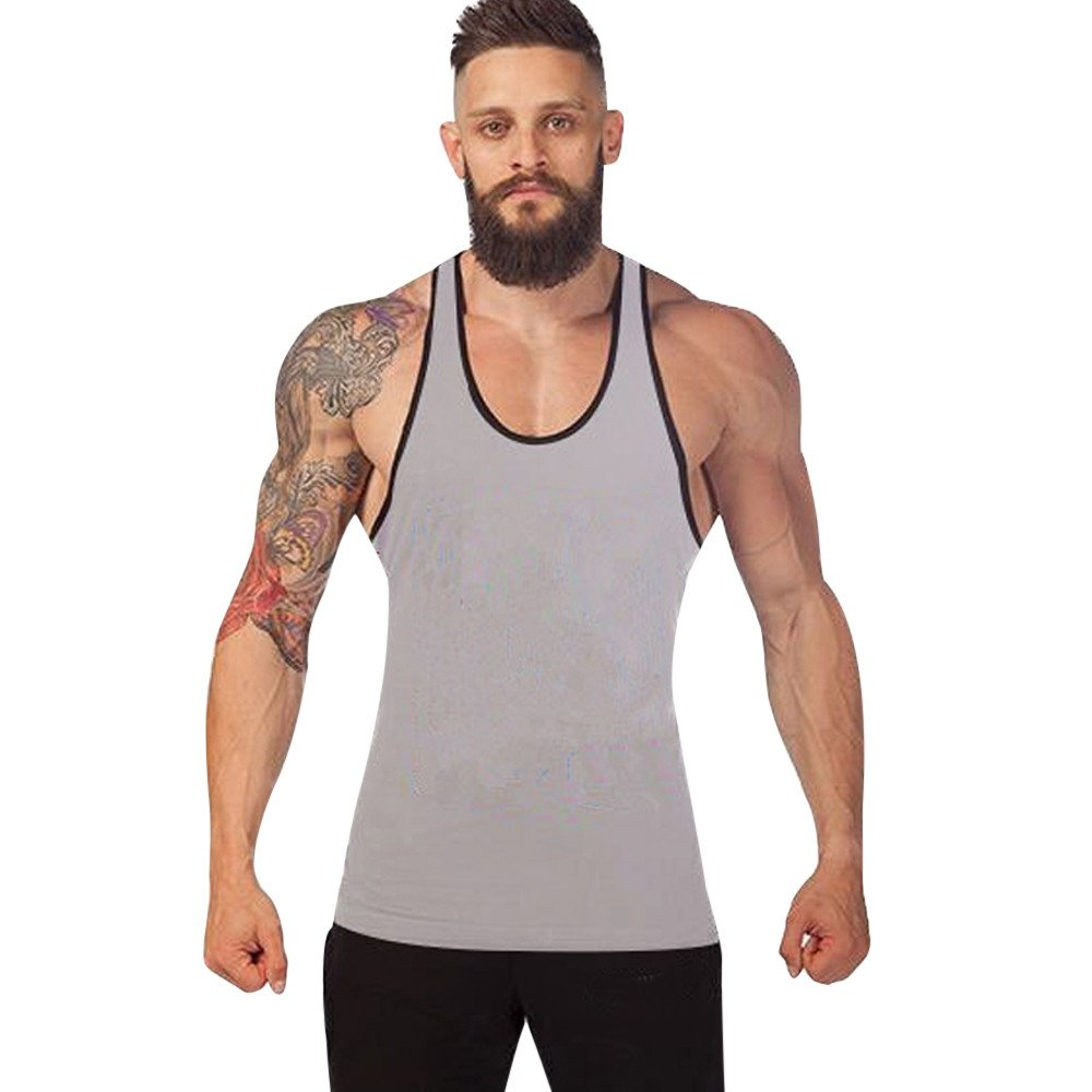KIKOY Casual Cozy Men's Solid Gym Tank Top Vest Singlet Sport Sleeveless Shirt