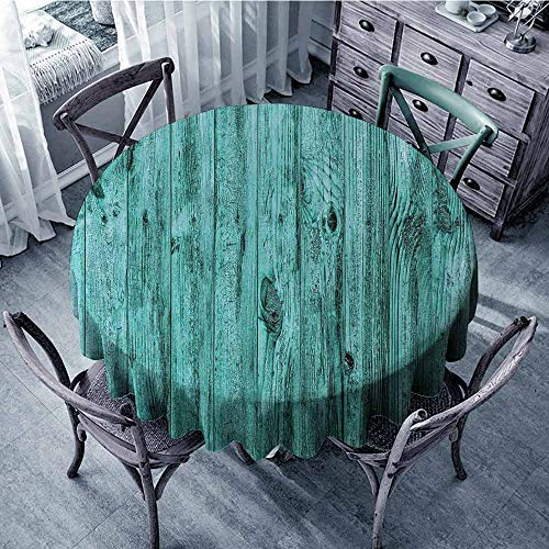 ScottDecor Patio Round Tablecloth Turquoise,Wall of Turquoise Wooden Texture Background and Antique Timber Furniture Artful Print,Blue Outdoor Picnics Diameter 60