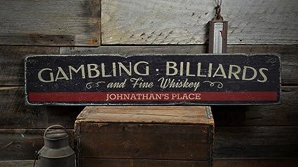 Amazon.com: Gambling Billiards & Fine Whiskey Wood Sign ...