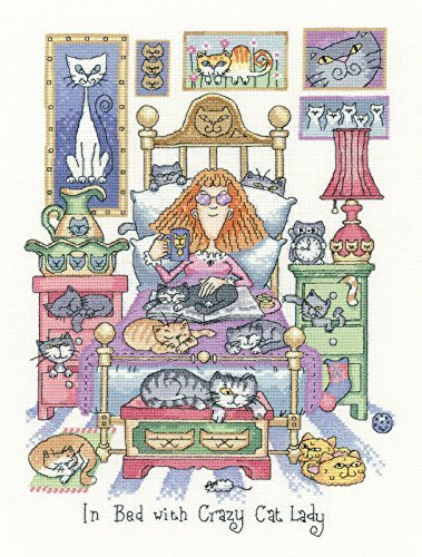 Heritage Crafts In Bed With Crazy Cat Lady Counted Cross Stitch Kit - Aida by Heritage Crafts
