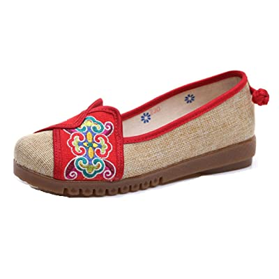 Tianrui Crown Womens Embroidery Cloud Rubber Sole Patchwork Slip-on Loafer Flat Shoe