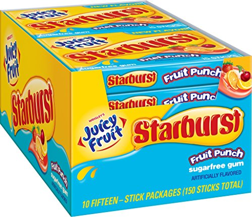 Juicy Fruit Starburst Fruit Punch Sugarfree Gum, (10 (Punch Gum)