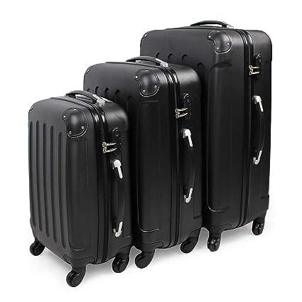Todeco - Juego de Maletas, Equipajes de Viaje - Material: Plástico ABS - Tipo de Ruedas: 4 Ruedas de rotación de 360 ° - 51 61 71 cm, Negro, Esquinas ...