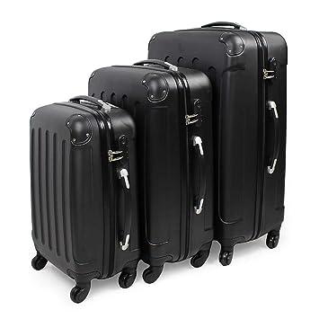 Todeco - Juego de Maletas, Equipajes de Viaje - Material: Plástico ABS - Tipo de ruedas: 4 ruedas de rotación de 360 ° - Esquinas protegidas, 51 61 71 ...