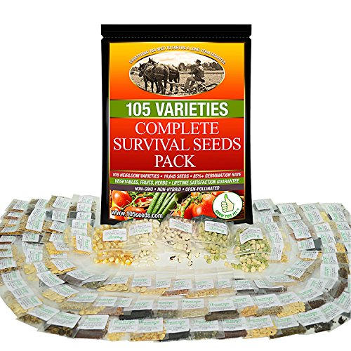 Survival Seeds Best For Fruit Herb and Vegetable Storage Bank - Emergency Doomsday Gardens Supplies - 105 Variety Heirloom Non GMO- Over 19,000 Seeds - High Germination Success - Made In USA