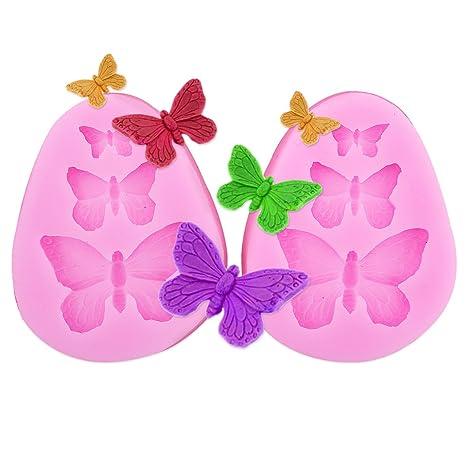 2x Encaje molde del silicona en forma pasta de azúcar herramienta Hornear adorna la flor rosa