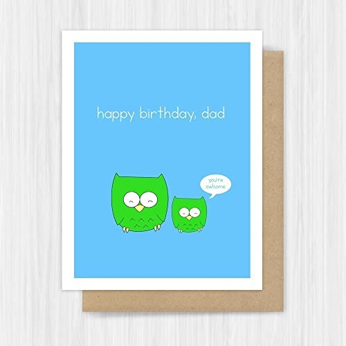 amazon com happy birthday dad card funny owl pun fun handmade