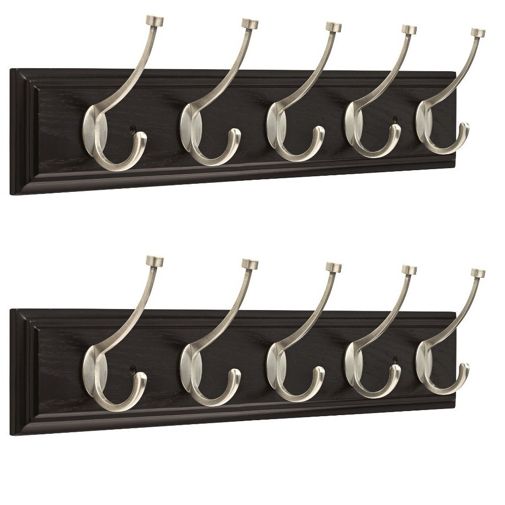 Franklin Brass (2 Pack Hanging Coat Rack Wall Mounted Hook Rail Organizer 5 Coat Rack Hooks Clothes Rack Heavy Duty