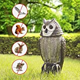 Redeo Solar Powered Owl Decoy Scarecrow Bird Repellent with Flashing Eyes & Scary Sound & Rotating Head, 10-16 ft Motion Activated - Animal Repeller Deter Birds, Squirrels & Mice and More