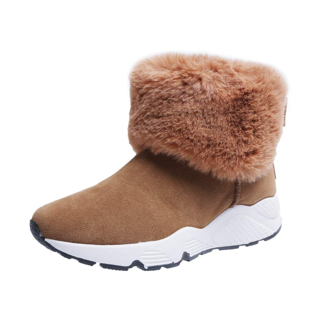 SSUPLYMY Damen Schneestiefel Winter Warm Freizeitstiefel Mode Fluff Stiefel Dicker Boden Low-Top Wanderschuhe Bequem Leichtgewicht Freizeitschuhe Sneakers