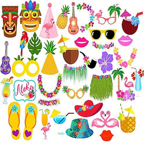 42pcs Hawaiian Luau Tiki Photo Booth Selfie Props Tropical Beach Party Holiday