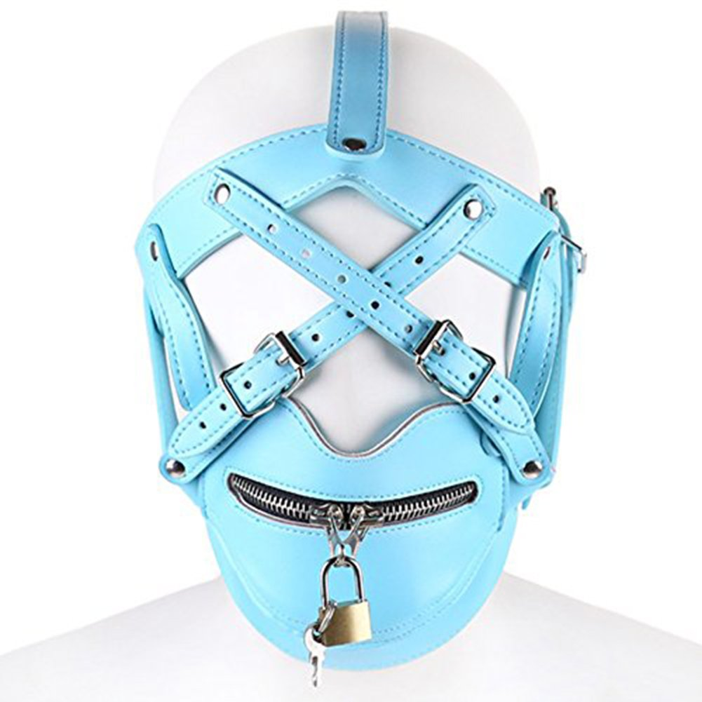 camaTech Leather Full Covered Adjustable Mask with Zipper Mouth for Cosplay Costume camaTech-10000002