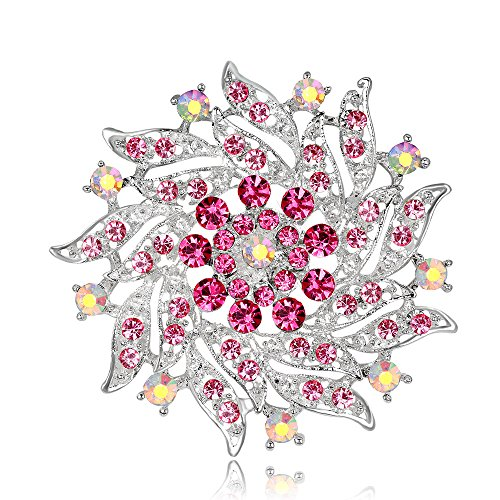 Pink Flower Rhinestone Brooch Pin - Women's Fashion Crystal Pin Brooch for Wedding Party (Pink)