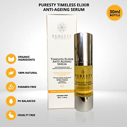 Orgánico Vitamina C Serum puresty atemporal Elixir Anti-Aging Serum con ácido hyalouronic, Colágeno