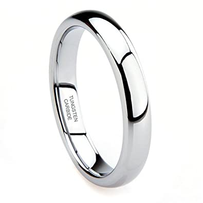 4mm Tungsten Unisex Plain Dome Polished Wedding Engagement Ring BuAPJYMES