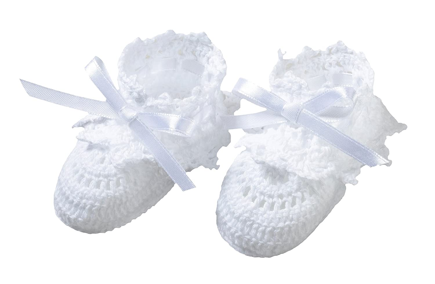 Lillian Rose Baby White Crocheted Booties