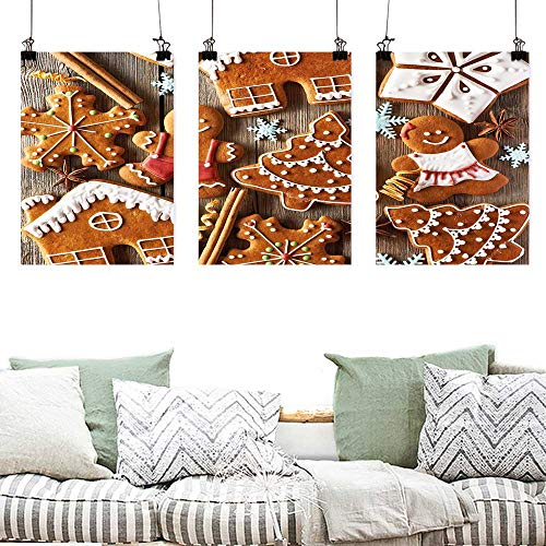 (Art Original Oil Painting Gingerbread Man Tasty Looking Traditional Cookies Little Snowflakes Cinnamon On Canvas Abstract Artwork 3 Panels 24x35inchx3pcs Umber Light Brown White)