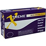 Ammex XN46100 Xtreme Powdered Nitrile Gloves, 235mm Length, Beaded Cuff, Large, Pack of 100 (Blue)