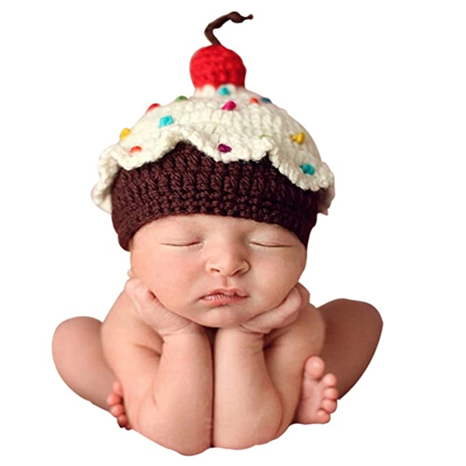 561c6b303e3c3 Ownmagi Newborn Baby Crochet Knit Cupcake Beanie Hat Photography Prop  Costume  Amazon.ca  Clothing   Accessories