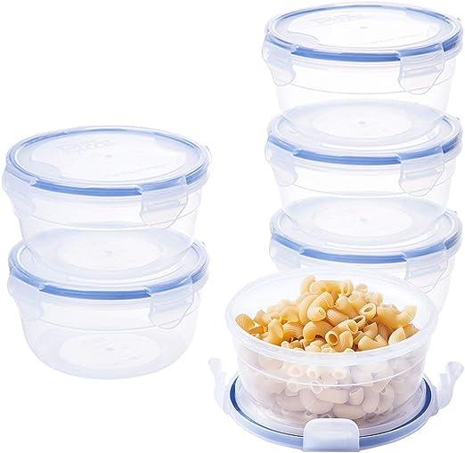 Fiambreras de plástico redondo cuencos BPA libre 600 ml cocina ensalada cajas se puede usar en microondas 6 valor pack rp041 W: Amazon.es: Hogar