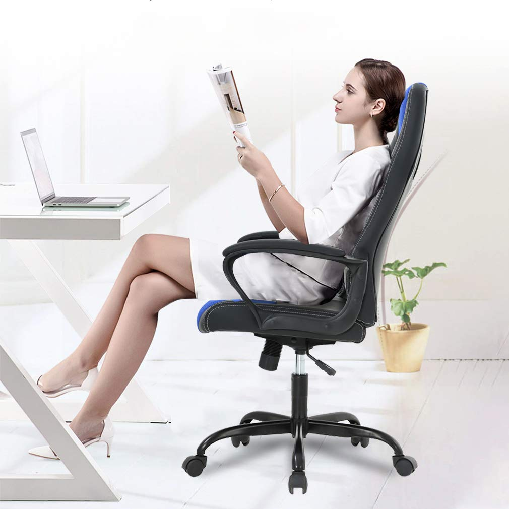 Ergonomic Office Chair Cheap Desk Chair PC Gaming Chair Rolling PU Leather Swivel Chair Executive Computer Chair Lumbar Support for Women, Men Blue