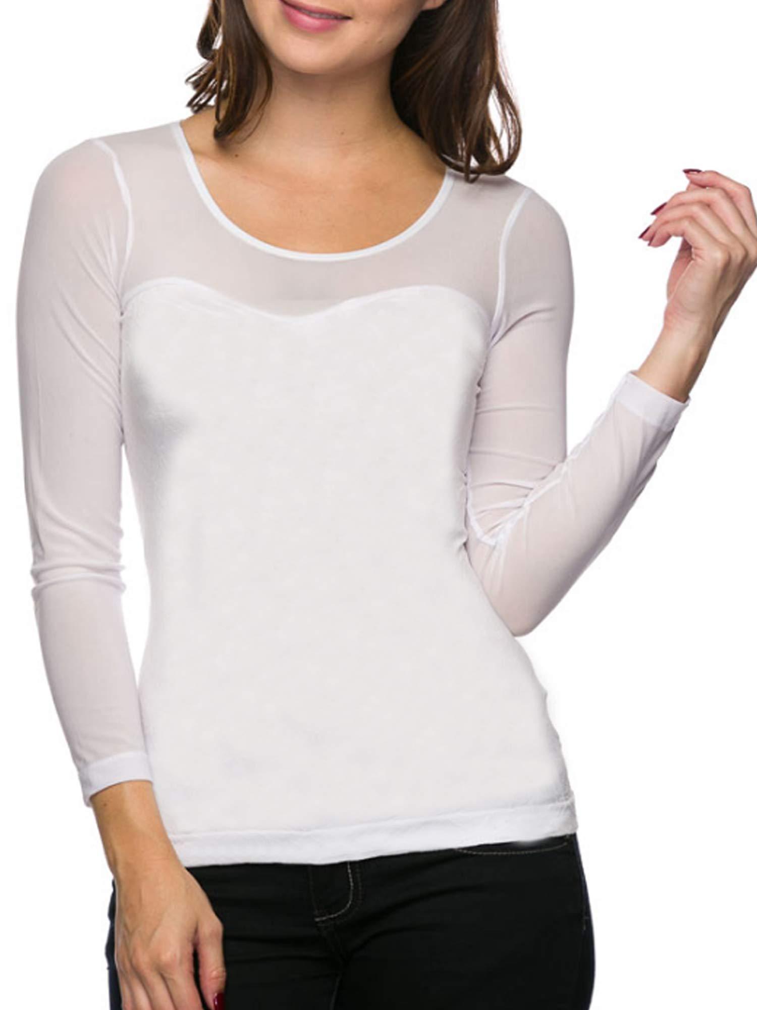 e90a9959862eb Ekimo T-USA Women Seamless Sheer Long Sleeve Mesh Top Sweetheart ...