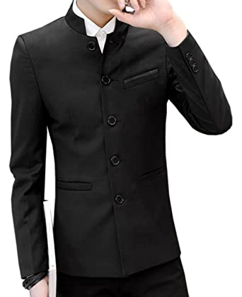 f2a7a820c0d JXG-Men Mandarin Collar Blazer Jacket Sports Cot Single-Breasted Outwear at Amazon  Men s Clothing store