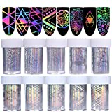 Born Pretty 10Rolls Nail Art Foil Sticker Holographic Laser Gradient Starry Sky Geometry Flower Manicure Transfer Decals