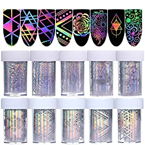 Born Pretty 10Rolls Nail Art Foil Sticker holographic Laser Gradient Starry Sky Geometry Flower manicuring Transfer Decals