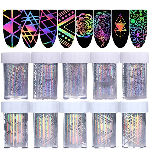 Born Pretty 10Rolls Nail Art Foil Sticker Holographic Laser Gradient Starry Sky Geometry Flower Manicure Transfer Decals - Holographic Foil